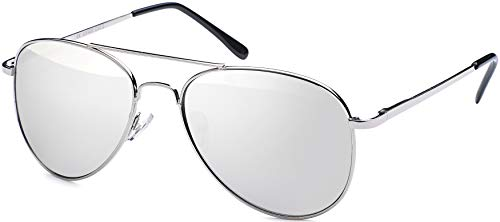 Balinco Gafas de sol de aviador 70 gafas de aviador gafas de espejo hombres y las de (plata)