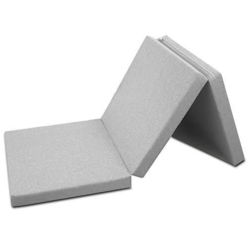 Colchón Plegable TYLINK con Funda de algodón 3D Transpirable y Resistente de Tejido de Punto, colchón de Viaje 190 x 60 x 7 cm