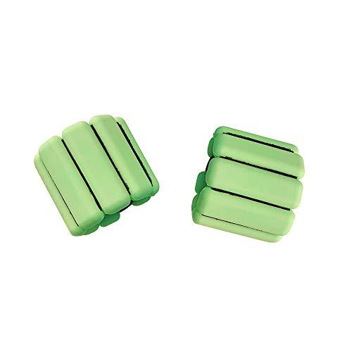 TOMSHOO Pesas Muñecas y Tobillos, Pesas Muñecas 1kg de Silicona, 2 Piezas Pulsera de Peso para Yoga Correr Aeróbic y Entrenamiento (Verde)