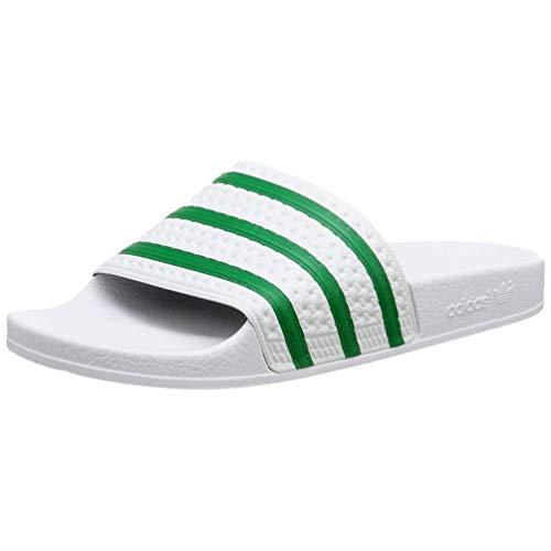 adidas Adilette Aqua Slide Sandalia, Verde vívido/Blanco/Verde vívido, 10 Women/10 Men