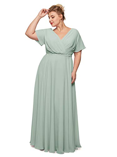 Alicepub Faux Wrap V-Neck Chiffon Bridesmaid Dresses Long Prom Formal Dress with Short Sleeves, Sage Green, US22