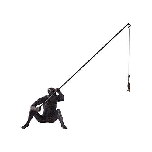 SBDLXY Estatua Creativa, Arte Hierro Pesca Decoración de Escritorio Adornos de Arte Moderno Decoración de Estante de Arte para Sala de Estar TV Gabinete de Vino Escritorio Decortion-a 45x15x41cm (1