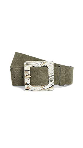 Lele Sadoughi Women's Acetate Buckle Belt, Olive, Green, Large