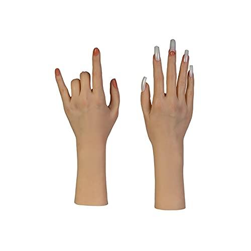 XIOFYA Halloween Dekor Weibliche Gelenk Hand Maniküre Modell Schaufensterpuppe Gefälschte Silikon Hände Pediküre Display Bewegliche Nägel Maniküre (Farbe : As Shown,...