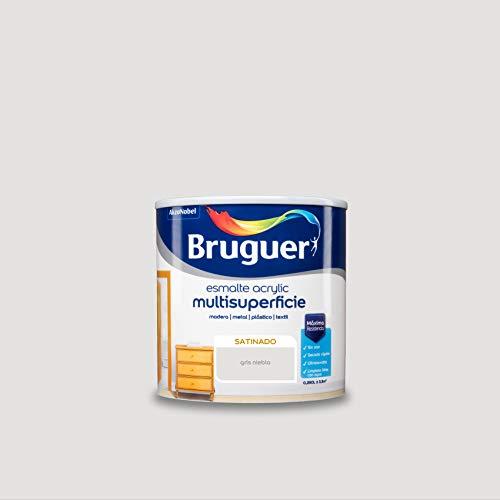 Bruguer Acrylic Multisuperficie Esmalte al agua Satinado Gris Niebla 250 ml