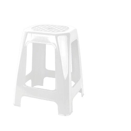 Juypal 335 - Taburete Rectangular Alto, Multiuso, 46 x 29 x 26 cm, Color Blanco