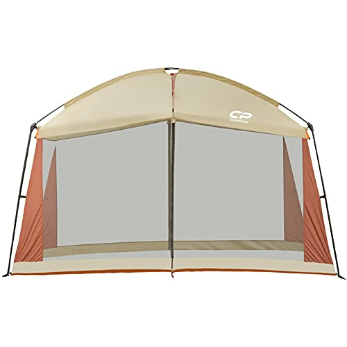 CAMPROS Screen House 12 x 12 Ft Screened Mesh Net Wall Canopy Tent Screen Shelter Gazebos for Patios Outdoor Camping Activities - Beige