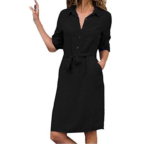 TIMEMEAN Frauen tägliches beiläufiges Kleid Damen V-Ausschnitt Minikleid Langarm-Kleid mit Gürtel