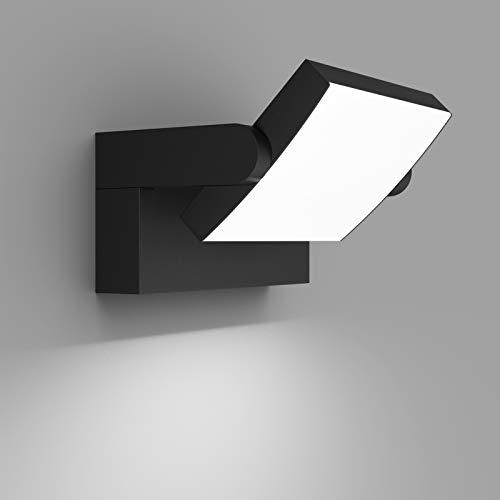 Klighten 24W Applique Murale LED Extérieure Intérieure Éclairage Mural Imperméable IP65, Décorative Mur Lampe avec LED Panneau Rotatif pour Couloir Entrée Jardin, Noir, Blanc Froid 5700K-6000K