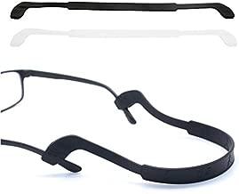 Glasses Strap Anti-Slip Silicone Eyeglass Strap Eyewear Retainers Sports Elastic Soft Sunglass Cord Holder for Men Women 2PCS(Black /White)