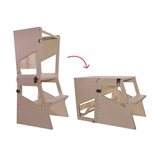 Bianconiglio Kids Moka TRS Learning Tower Montessori transformiert in Tisch - Kitchen Helper (Unbehandeltes Naturholz)
