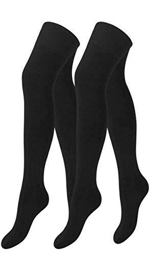 Yenita 2 Paar Damen & Mädchen Overknee Strümpfe Uni oder Ringel, lange Kniestrümpfe, Baumwolle (One Size, Schwarz Uni)