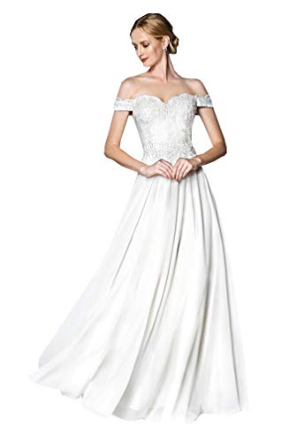 A-Line Off The Shoulder Lace Chiffon Beach Wedding Dress Long Formal Bridal Gowns (White,2)