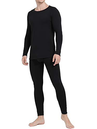 Ginasy Thermal Underwear for Men Long Johns Set Winter Warm Base Layer Top & Bottom with Fleece Lined Black