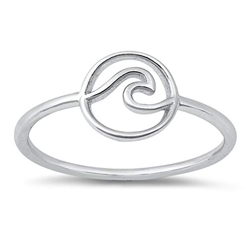 High Polish Round Ocean Wave Ring New .925 Sterling Silver Band