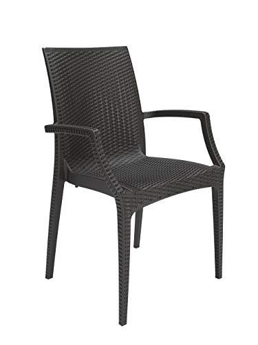 GBSHOP Sedia con braccioli/Poltrona da Giardino, Bar, Ristorante Effetto Rattan Resistente (Ordine Minimo 2 Pezzi)