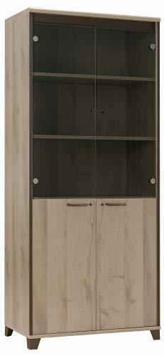 Armoire 2 Porte vitrées 2 Portes Pleines Gautier de la Collection Mambo Couleur Chêne Dordogne