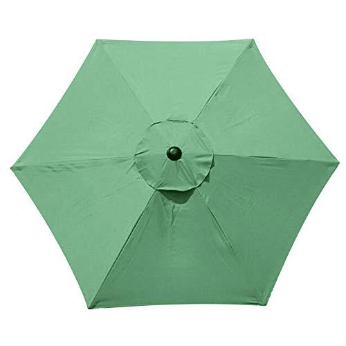 SMLJFO Parasol de repuesto para sombrilla de 6 costillas, 2,7 m, impermeable, antiultravioleta, tela de reemplazo/verde
