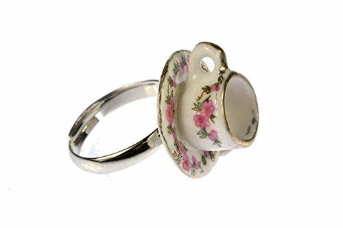 Miniblings Kaffeetasse Tasse Ring - Kaffeetasse Tasse - Handmade Modeschmuck I Fingerring mit Motiv I verstellbar one Size