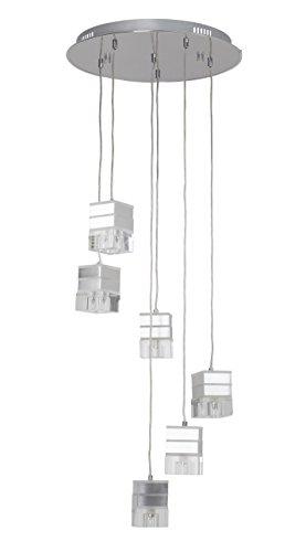 Brilliant AG G93280/15 Suspension LED a 6 lumieres TANILA, G9 28 W, coloris chrome/transparent, Métal, 168 W, Gris