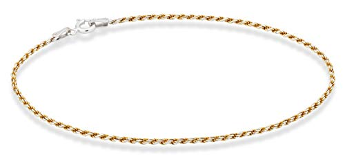Miabella 925 Sterling Silver Solid 1.5mm Diamond-Cut Braided Rope Chain Anklet Ankle Bracelet for Women Teen Girls 9, 10 Inch Made in Italy (Yellow-Gold-Plated-Silver, 9)