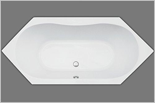 Badewanne Acryl Sechseck weiß 180x80cmx45cm Eckwanne