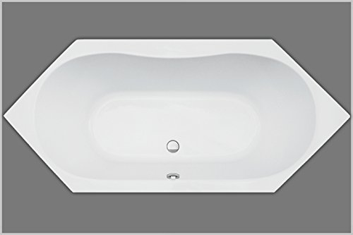 Badewanne Acryl Sechseck weiß 190x90cmx45cm