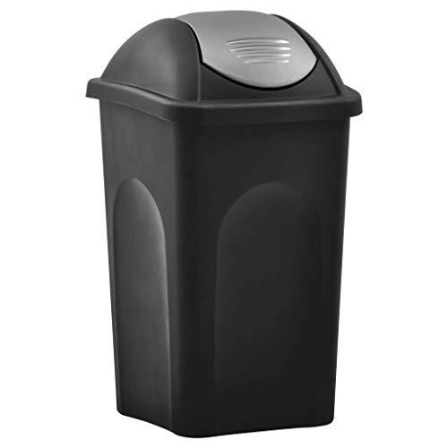 vidaXL Poubelle avec couvercle basculant - 60 l - Noir et argent