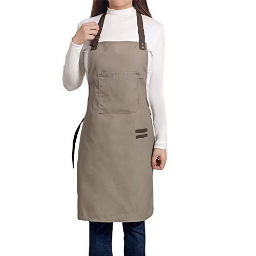 PEFF Einstellbare Schürzen Professionelle Latzschürze Baumwolle Leinwand mit Taschen für Frauen Männer Erwachsene Chefs Kochen/Reinigung / Küche/Restaurant Light Coffee