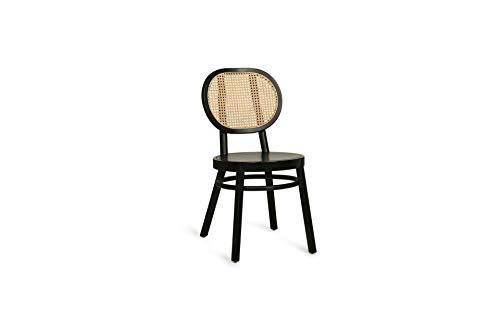 HK Living Broglie - Silla combinada de madera negra y acanalada