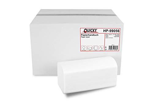 Quicky Papierhandtücher für Spender | Zellstoff hochweiß, 2-lagig, 25 x 23 cm | 3.000 Blatt verpackt in 12 x 250 Blatt | praktischer V-Falz für Handtuchspender in Toiletten, Büros, Praxen und Studios