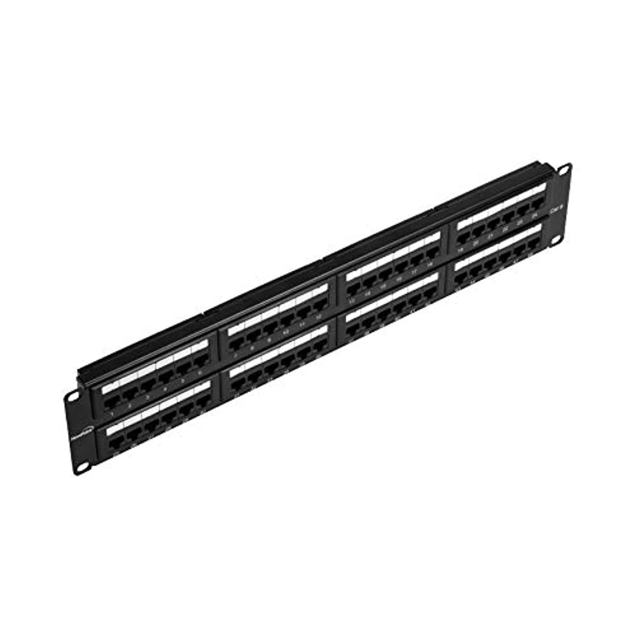 NavePoint 48-Port Cat6 UTP Unshielded Patch Panel for 19-Inch Wallmount Or Rackmount Ethernet Network 2U Black
