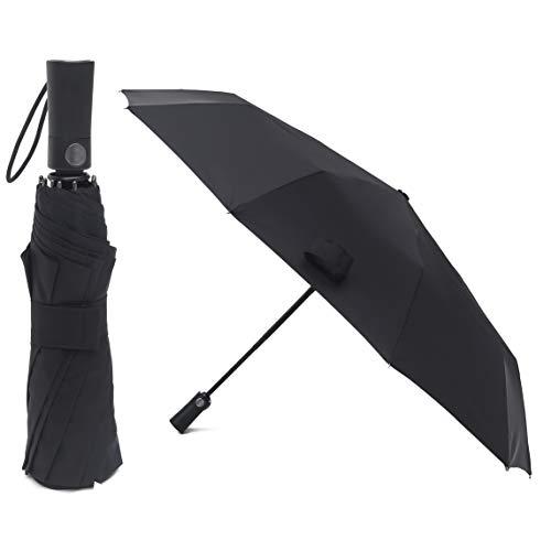 PARACHASE 折りたたみ傘 自動開閉 ワンタッチ 耐風 撥水 グラスファイバー 10本骨 直径102cm ブラック
