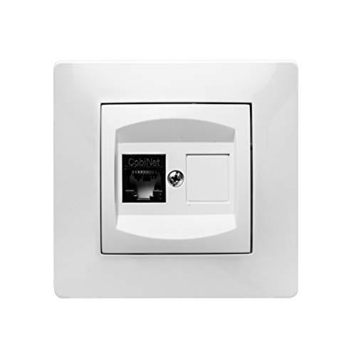 Famatel 9138 Presa telefono RJ-45 | Presa ad incasso | Serie Habitat 15 | Facile installazione Alta tenuta del prodotto in questione | Completamente privo di alogeni | Bianco