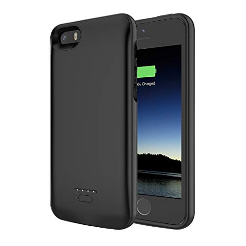 Battery Case for iPhone 5/5S/SE, Enhanced 4000mAh Battery Charging Case for iPhone 5/SE/5S Magnetic Charger Case Protective Backup Power Case Cover for iPhone 5/5s/se -Black