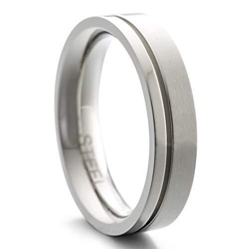 Heideman Ring Damen und Herren Paari aus Edelstahl Silber Farben matt Damenring für Frauen und Männer als Partnerringe mit Kerbe strichmatt Gr.63 hr7006-4-63