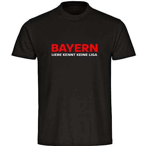 T-Shirt Bayern - Liebe kennt Keine Liga schwarz Herren Gr. S bis 5XL - Bayern Fußball München Fanartikel, Größe:XXXXXL