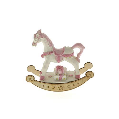 6 PZ Cavallo a dondolo ROSA in resina e legno 9x8 cm BOMBONIERA