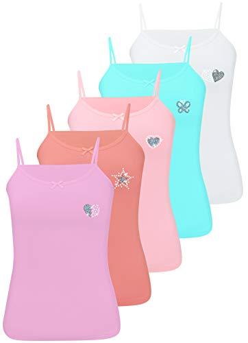 LOREZA LOREZA ® 5 Stück Mädchen Baumwolle Strass & Glitzer Unterhemden (140-146 (10-11 Jahre), Modell 1-5 STÜCK)