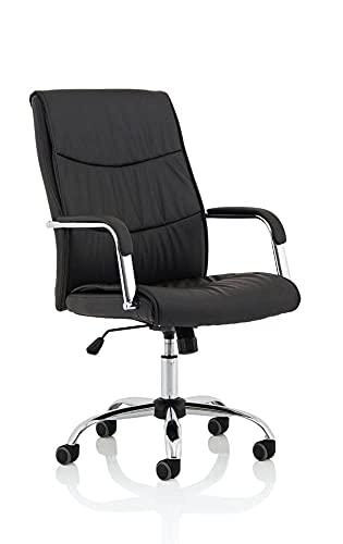 DYNAMIC Carter Luxus Kunstleder Stuhl mit Armlehnen, schwarz