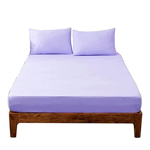 YUDIZWS Cubrecolchón Impermeable Transpirable Fresco Antiácaros Hipoalergénico Lavable Silencioso Cubre Colchón Protección contra Líquidos (Color : Purple, Size : 150x200+30cm)