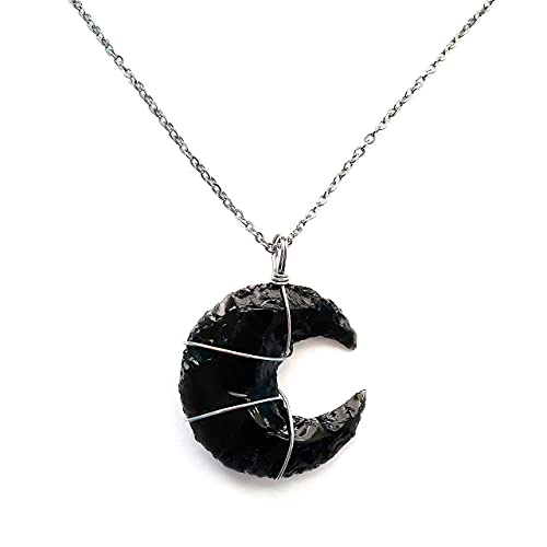Black Obsidian Crystal Crescent Moon Necklace Gift