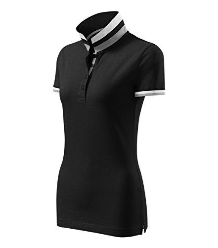 Adler Modisches Damen Poloshirt Collar Up - Super Premium Stoff & Shirt Schnitt | 100% Baumwolle | S - XXL (257-Schwarz-L)