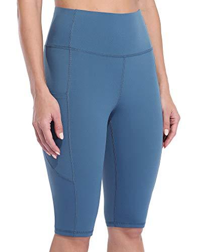 Anwell Mallas cortas para mujer con bolsillo para el móvil, color negro, pantalones de yoga de cintura alta azul azur L