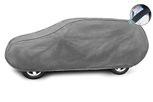 Autoplane MG L SUV Vollgarage geeignet für Nissan Qashqai II ab 2014 atmungsaktiv Schutzplane Autoabdeckplane - obere Membrane wasserdicht + Gurtschoner