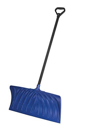Suncast 27' Ergonomic Snow Shovel Pusher with Steel Shaft, Navy
