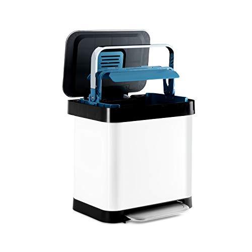 KLARSTEIN Trash Inn - Poubelle à pédale, OdorControl: Filtre Anti-odeurs, boîtier en INOX, Support Pratique pour Sac Poubelle, poignée de compacteur en INOX, mécanisme à pédale, 30 L - Blanc