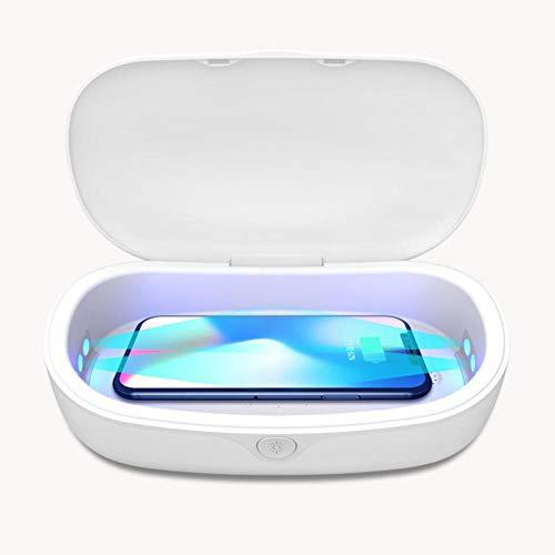 Desinfectante UV para teléfonos móviles, con cargador inalámbrico, caja de esterilización UV, caja de desinfección de la estación de carga de teléfonos inteligentes, relojes, máscaras