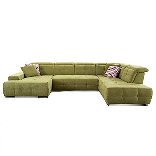 CAVADORE Wohnlandschaft Mistrel mit Ottomanen rechts / XXL-Sofa in U-Form / Inkl. Kopfteilverstellung / Couch mit aufwendiger Steppung / 343 x 77-93 x 228 / Kati Grün