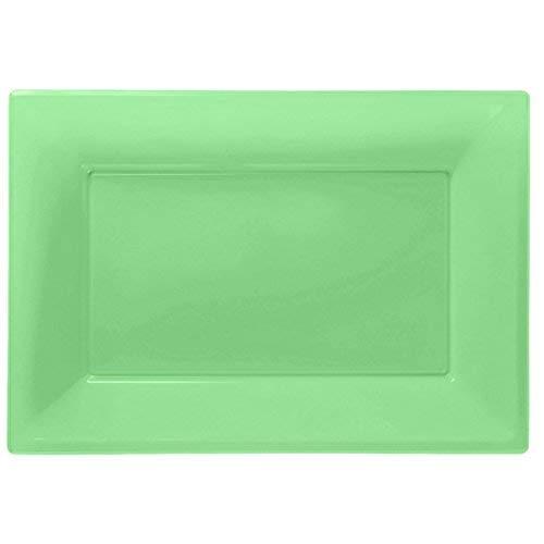 ToyCentre Amscan Plastic 3 Serving Platters, Kiwi Green
